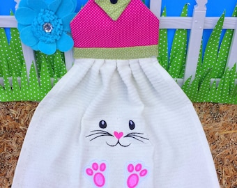 Kitchin towel.Easter bunny kitchin towel topper.