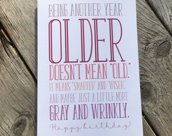 Funny old Happy Birthday greeting card