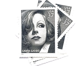 5 x Greta Garbo UNused 37 cents Black and White US Postage Stamps - Hollywood - Actress - for invites, mailing, crafting, card making
