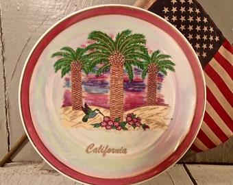 California Plate, Souvenir California Plate, Wall Decor, California Souvenir, Hand Painted, Palm Tree Design, Palm Tree