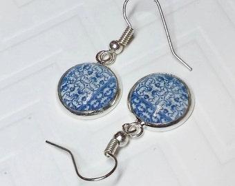 Vintage Blue Vines Dangle Earrings, Silver-plated setting, 10mm,