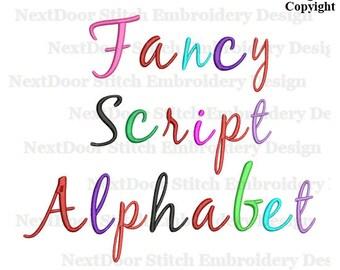 Fancy script embroidery font design,  script Alphabet  big small cap, BX files added,  font-036b