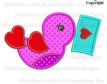 Valentine bird embroidery applique design, love letter bird file,  brd-026