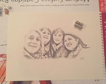 Mother's day family picture sketch. Your mums favourite photo as a drawing.