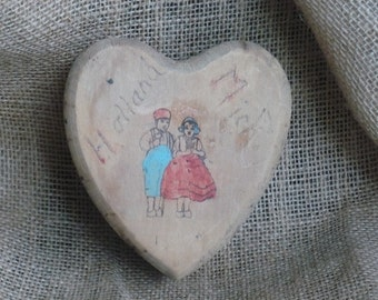 Vintage Wood Heart Box Trinket Box Souvenir from Holland Michigan Dutch Boy and Girl