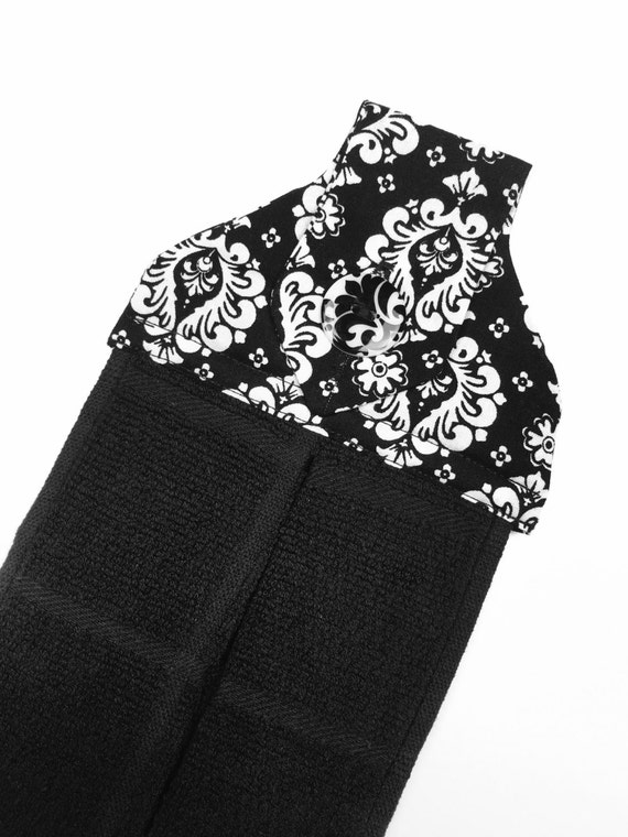 Hanging hand towel black and white damask by AmandasAfghans