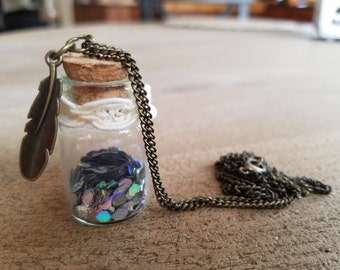 Message In A Bottle Necklace~ Metallic Cream Lace