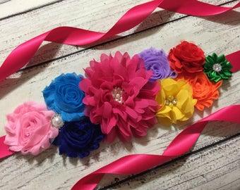 Rainbow Maternity Sash, Wedding /Bridal Sash, Maternity Sash , Flower Belt , Baby Shower Sash, Flower Girl Sash