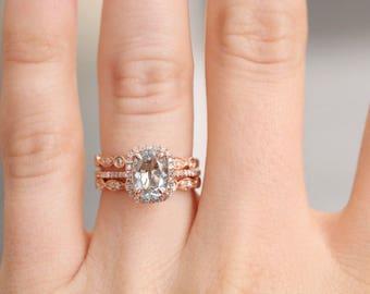 6x8 Oval Aquamarine Diamond, Halo Engagement Ring, Rose Gold Art Deco, Wedding set,  Aquamarine Wedding set, Diamond, Rose Gold, Halo Diamon