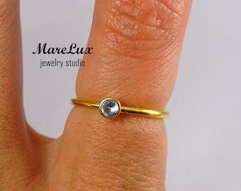 Classic 3 mm Aquamarine Gold Ring, Light Blue Synthetic Aquamarine Stackable 24K Gold Filled Simple Aquamarine Engagement Ring Birthstone