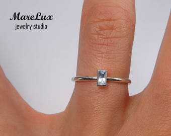 Aquamarine Baguette Cut Silver Ring, Stacking Sterling Silver Ring, Synthetic Blue Aquamarine Ring, March Birthstone 925 Silver Tiny Ring
