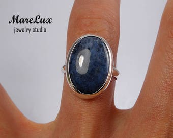 Natural Dumortierite Silver Ring, Gold or Gold Plated Dumortierite Ring, Blue Cabochon Ring, Sterling Silver Dumortierite Ring, Blue Ring