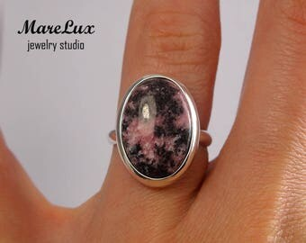 Genuine Pink Rhodonite Silver Ring, Gold or Gold Plated Rhodonite Ring, Pink and Black Rhodonite Ring, Rhodonite Cabochon Ring, Rhodonite