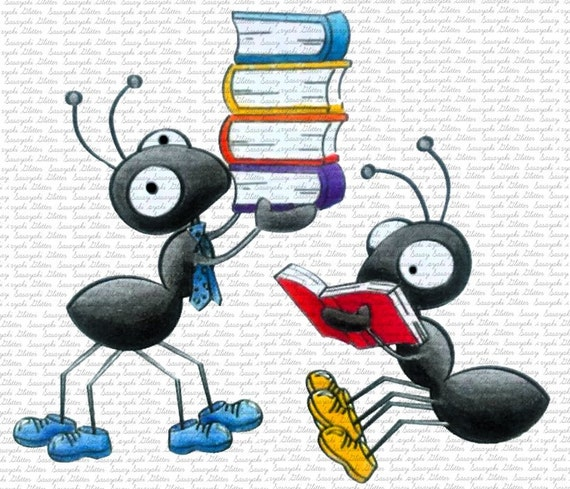 Image #26 - Library Ants - Digital Stamp by Sasayaki Glitter digital Stamps - Naz - Line art only - Black and white
