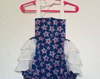 4th of July outfit, Indepedence Day outfit, 12 months, summer romper, girls romper, baby romper