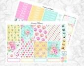 Watercolor Roses Little Weekly Set (matte planner sticker, fits perfect in Erin Condren Life Planner Vertical)