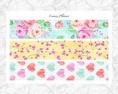 Watercolor Roses PERSONAL washi (matte planner stickers, Filofax, Kikki K, Websters Pages, Color Crush)