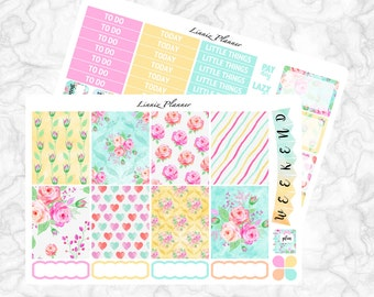 Watercolor Roses Little Weekly Kit (matte planner sticker, fits perfect in Erin Condren Life Planner Vertical)