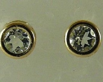 Aquamarine 0.46ct Stud Earrings with 14K Yellow Gold Post and Push Backs