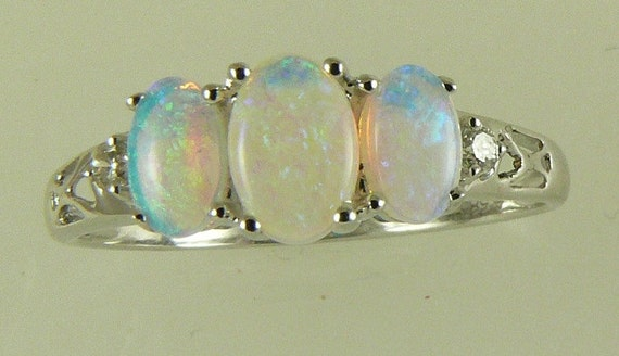 Opal 0.59ct Ring, 14K White Gold and Diamonds 0.04ct, Size Selectable