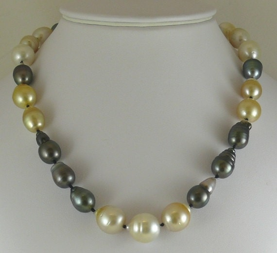 """South Sea Multi-Colored Baroque 14.6x16.6mm Pearl Necklace 14KY Gold Clasp 18.5"""""""