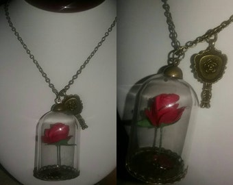 Enchanted Rose & Mirror Necklace! -FREE SHIPPING!-