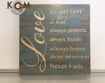 Art Love Is Patient Sign - Hand painted, Wood, Distressed Sign, Home Wall Decor, Wood Stain Sign