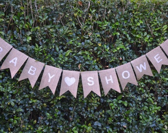 BABY SHOWER Burlap Bunting - Rustic Baby Shower Decoration - Banner