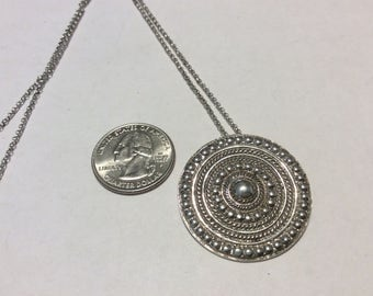 """Vintage sterling silver circle pendant 18"""" chain"""