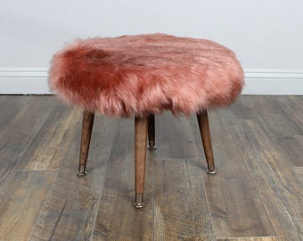 Mid century Modern bench/Foot Stool/Ottoman Faux fur Rose gold/Pink color