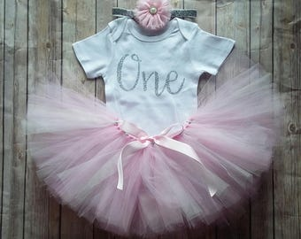 1st Birthday Girl Outfit Girls Birthday Outfit First Birthday Outfit Pink Gray Cake Smash Photo Prop Personalize Customize