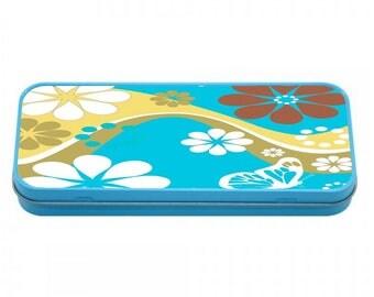 Retro Flowers Pencil case TIN Back to School