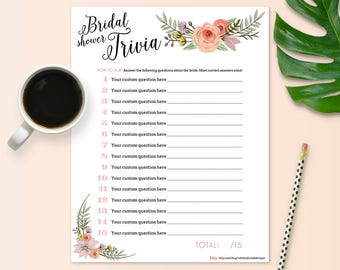 Customize Your Own Bride Trivia Game for Bridal Shower - Floral Theme - Instant Printable Download