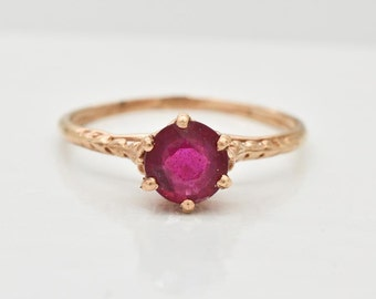 Antique Victorian 14K Rose Gold Red Ruby Solitaire Ring, Natural Genuine Ruby