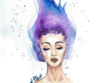 Galaxy Hair Print