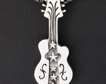 Guitar Classic Diamond 925 Sterling Silver Pendant Gothic Biker Jewelry