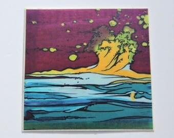 Yellow Wave Abstract Vinyl Sticker
