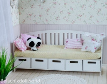 Dollhouse bed, 1/4, miniature daybed, with boxes, BJD, MSD, miniature furniture, diorama, roombox dollhouse