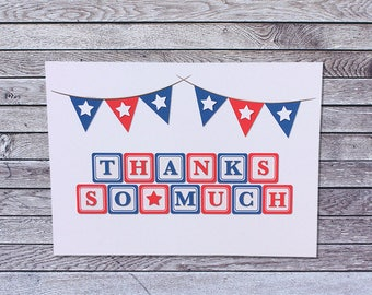 Building Block Baby Shower Thank You Cards / Fourth 4th of July / Patriotic / Boy Girl / Single or Pack