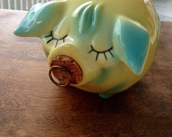 Collectible Hull Corky Pig Bank // Red Cork Snout // Yellow Hull Piggy Bank // 1957 Pottery Bank // Corky Pig 57