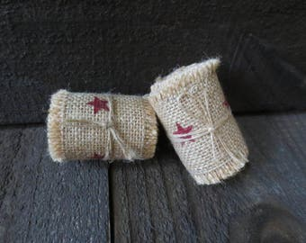 Primitive Country 2 in Wide Rustic Americana Red Stars Burlap Ribbon 72 inches Long Unfinished Edges