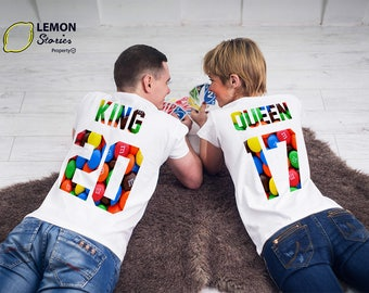 """What is your number? Shirts for couples Custom Couple T-shirts """"King"""" and """"Queen"""" King Queen Matching Shirts Matching Couple tees"""