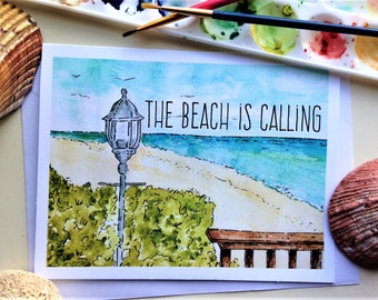 Coral Cove Beach Watercolor Note Card