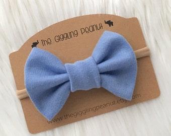 Powder Blue Bow Nylon Headband or Clip // Baby Nylon Headband // Bow Hair Clip // Blue Baby Headband / Baby Hair Clips / Girl Hair Clips