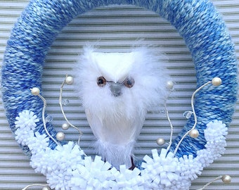 Owl Wreath, Snowy Owl Wreath, White Owl Wreath, Winter Owl Wreath, Yarn Wreath, Blue Yarn Wreath, Felt Flower Wreath, White Flower Wreath