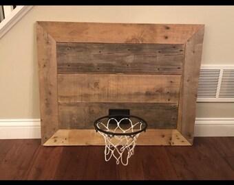 Reclaimed wood basketball hoop wall hanging