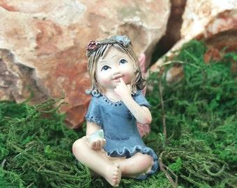 "Miniature Fairy Little Girl in Blue with or without 6.5"" Stake"