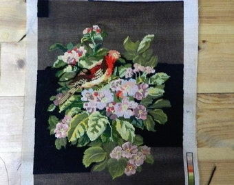 Pink purple flowers 50% sewn tapestry, half sewn canvas with a cream background, Needs finishing off, Needlepoint canevas, Margot 532