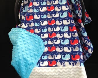 Car Seat Canopy / Whales - Chevron, Blue, Grey, Red, White/ Infant Car Seat Cover