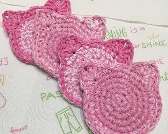 Crochet Cat Coasters, Pink Pussycat, Kitty Cat Coaster, Cat Coasters Set of 4